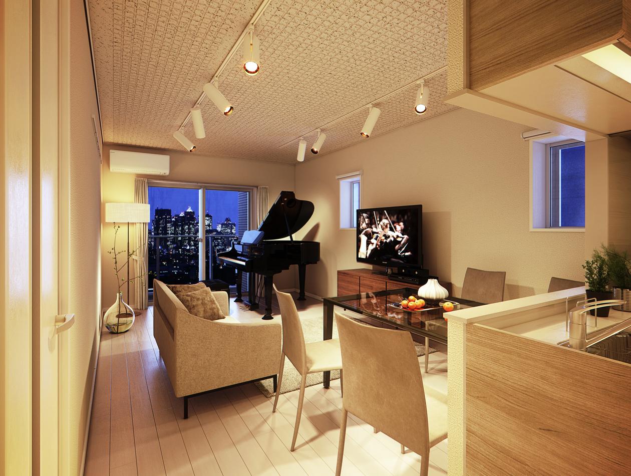 9階から11階の1LDKタイプは1フロア1部屋の贅沢な仕様